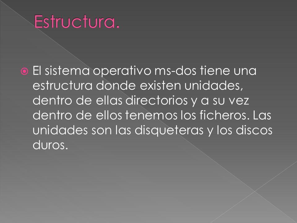 El sistema operativo ms-dos tiene una estructura donde existen unidades, dentro de ellas directorios y a su vez dentro de ellos tenemos los ficheros.