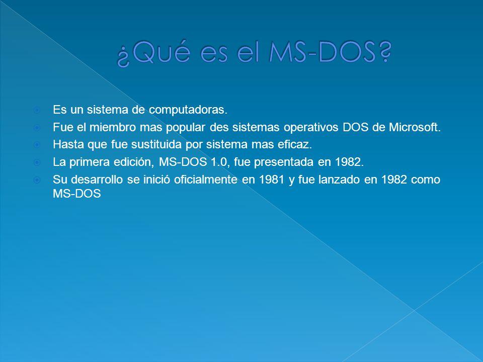 Es un sistema de computadoras. Fue el miembro mas popular des sistemas operativos DOS de Microsoft.
