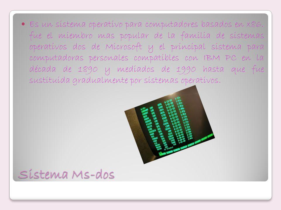 Sistema Ms-dos Es un sistema operativo para computadores basados en x86. fue el miembro mas popular de la familia de sistemas operativos dos de Micros