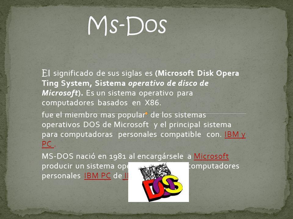 MS-DOS se desarrollo a partir de QDos también conocido como 86- DOS.