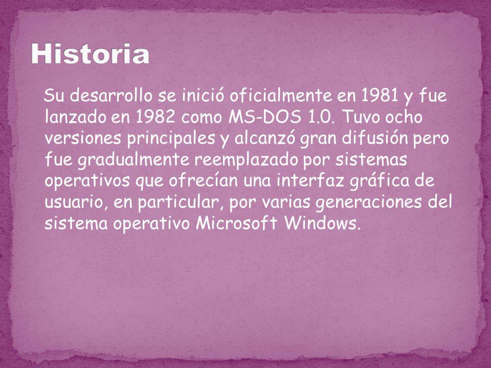 Su desarrollo se inició oficialmente en 1981 y fue lanzado en 1982 como MS-DOS 1.0. Tuvo ocho versiones principales y alcanzó gran difusión pero fue g