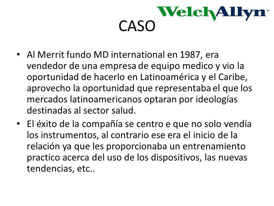 CASO Al Merrit fundo MD international en 1987, era vendedor de una empresa de equipo medico y vio la oportunidad de hacerlo en Latinoamérica y el Caribe, aprovecho la oportunidad que representaba el que los mercados latinoamericanos optaran por ideologías destinadas al sector salud.