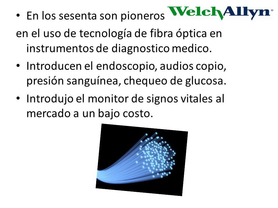 En los sesenta son pioneros en el uso de tecnología de fibra óptica en instrumentos de diagnostico medico.