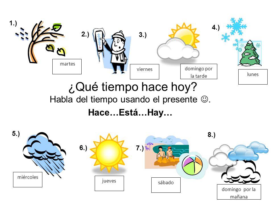 ¿Qué tiempo hace hoy.Habla del tiempo usando el presente.