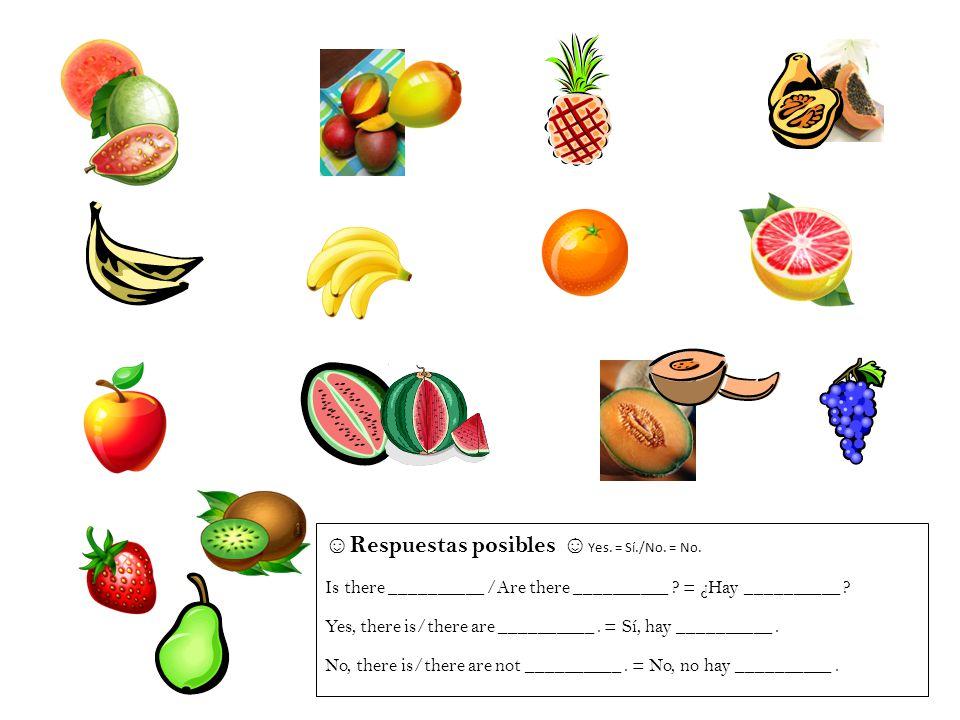 Respuestas posibles Yes. = Sí./No. = No. Is there __________ /Are there __________ ? = ¿Hay __________ ? Yes, there is/there are __________. = Sí, hay