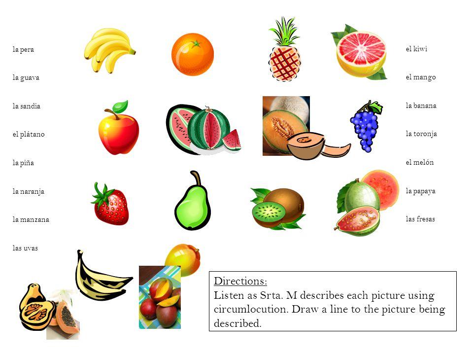 la pera la guava la sandia el plátano la piña la naranja la manzana las uvas el kiwi el mango la banana la toronja el melón la papaya las fresas Direc