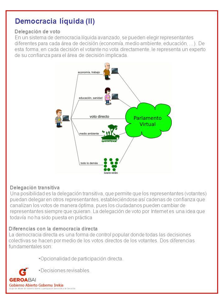 Democracia líquida (II) Delegación de voto En un sistema de democracia líquida avanzado, se pueden elegir representantes diferentes para cada área de