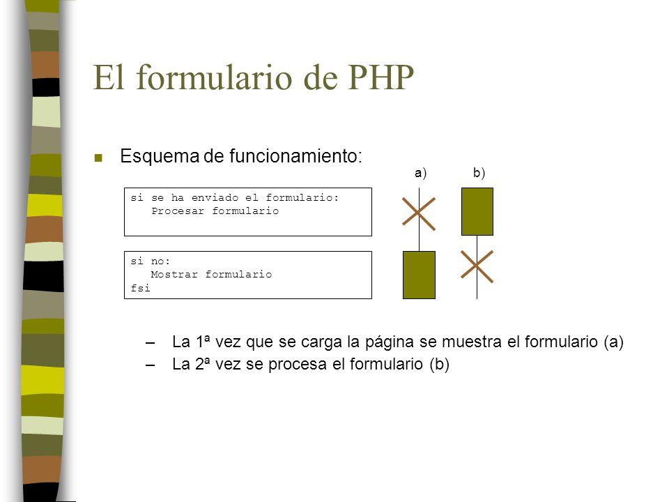 El formulario de PHP n Esquema de funcionamiento: si se ha enviado el formulario: Procesar formulario si no: Mostrar formulario fsi a)b) –La 1ª vez que se carga la página se muestra el formulario (a) –La 2ª vez se procesa el formulario (b)
