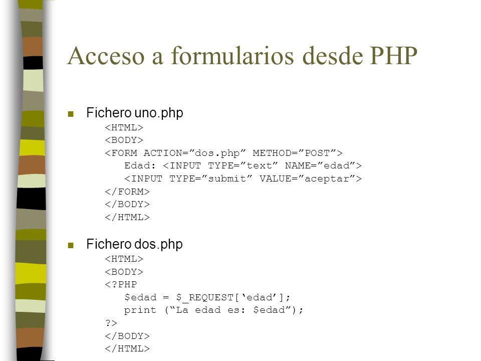 Acceso a formularios desde PHP n SELECT simple Color: Rojo Verde Azul <?PHP $color = $_REQUEST[color]; print ($color); ?>