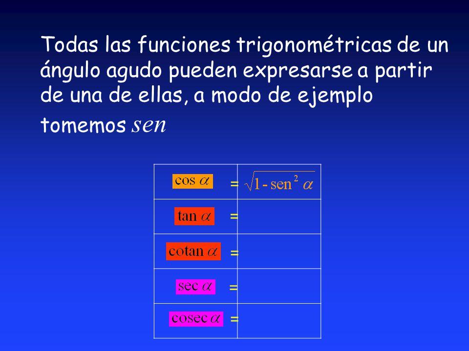Todas las funciones trigonométricas de un ángulo agudo pueden expresarse a partir de una de ellas, a modo de ejemplo tomemos sen = = = = =