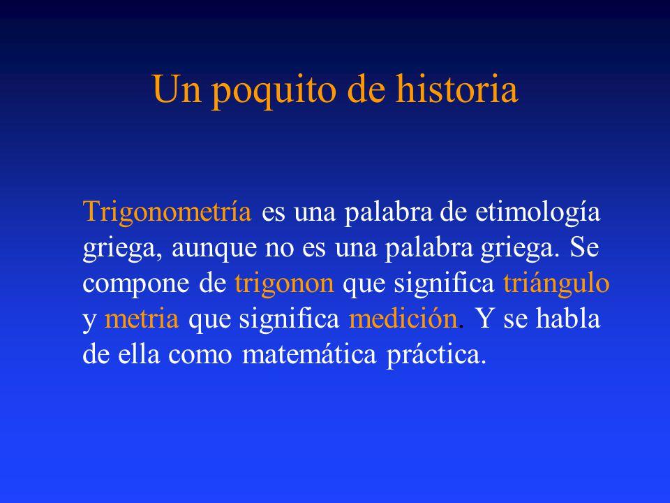 Un poquito de historia Trigonometría es una palabra de etimología griega, aunque no es una palabra griega.