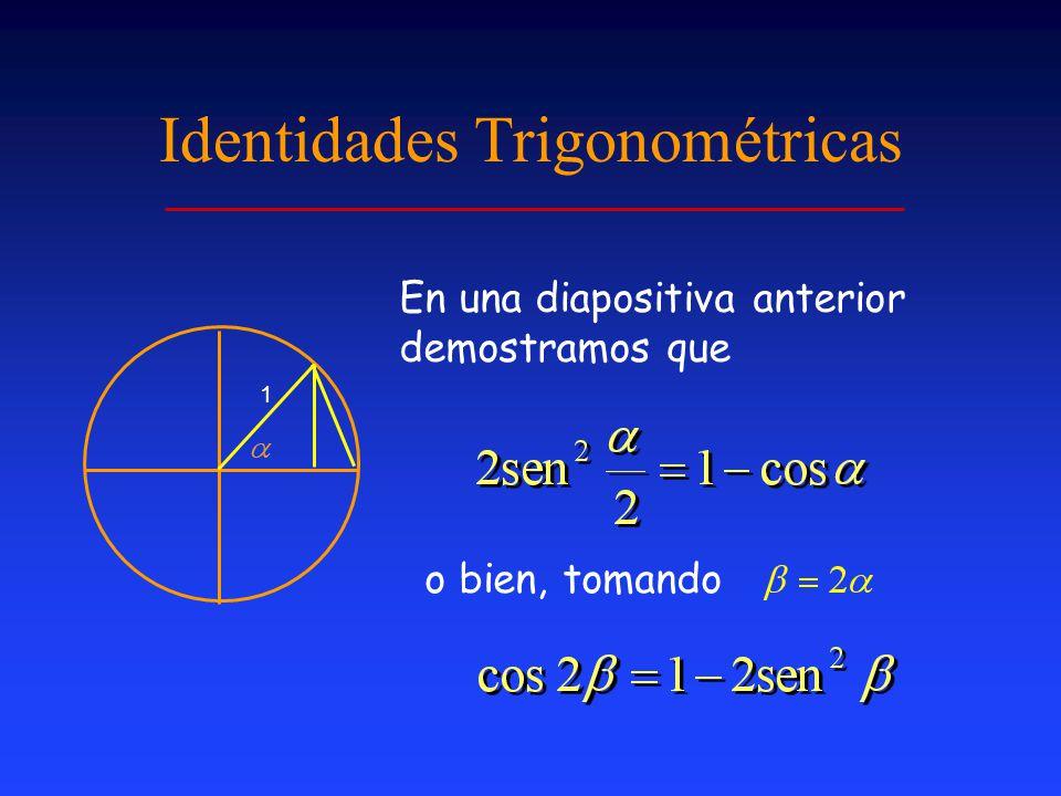 Identidades Trigonométricas 1 En una diapositiva anterior demostramos que o bien, tomando