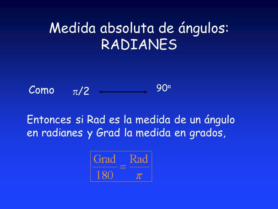 Medida absoluta de ángulos: RADIANES /2 90 o Como Entonces si Rad es la medida de un ángulo en radianes y Grad la medida en grados,
