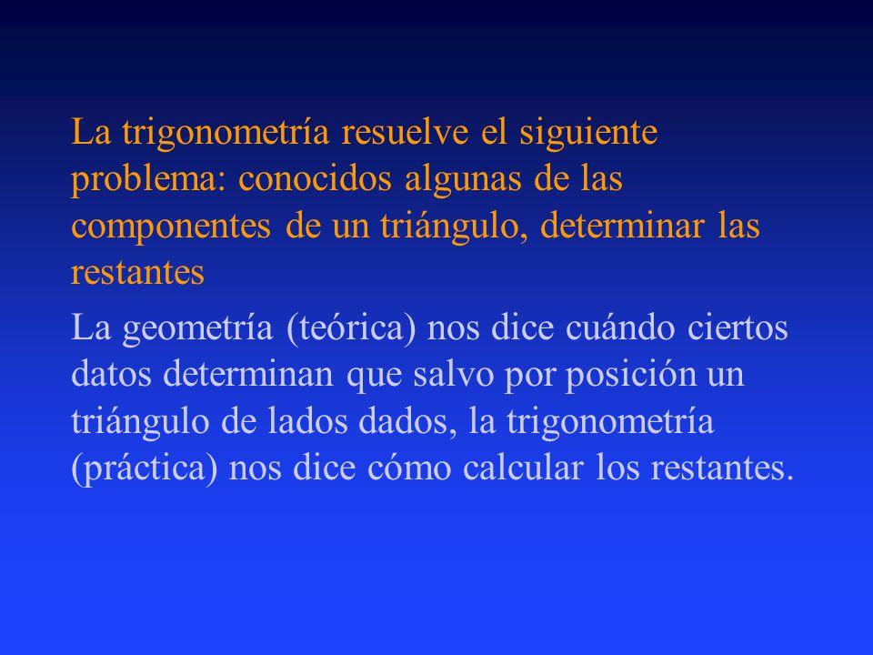 La trigonometría resuelve el siguiente problema: conocidos algunas de las componentes de un triángulo, determinar las restantes La geometría (teórica) nos dice cuándo ciertos datos determinan que salvo por posición un triángulo de lados dados, la trigonometría (práctica) nos dice cómo calcular los restantes.