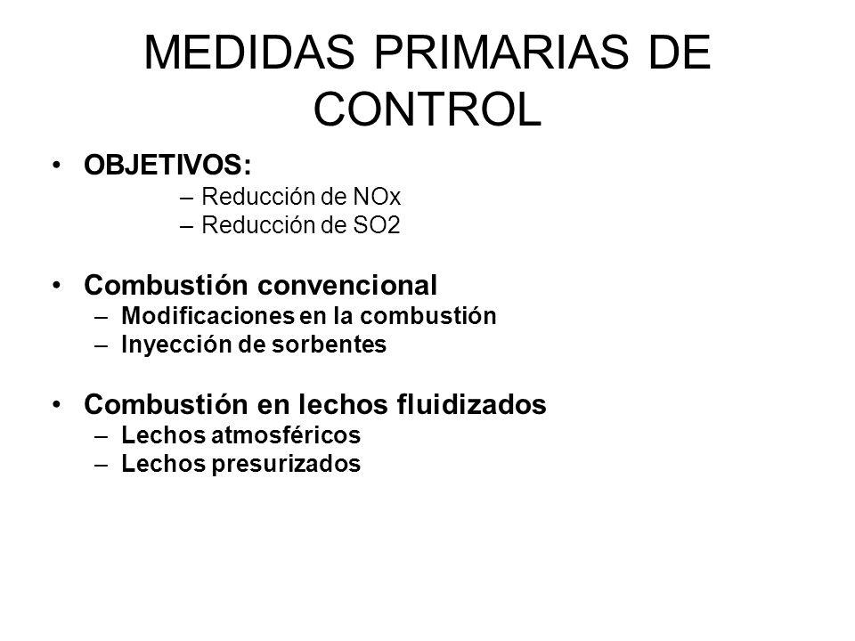 MEDIDAS PRIMARIAS DE CONTROL OBJETIVOS: –Reducción de NOx –Reducción de SO2 Combustión convencional –Modificaciones en la combustión –Inyección de sorbentes Combustión en lechos fluidizados –Lechos atmosféricos –Lechos presurizados