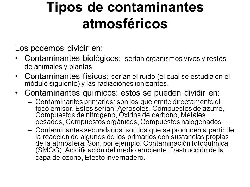 Tipos de contaminantes atmosféricos Los podemos dividir en: Contaminantes biológicos: serían organismos vivos y restos de animales y plantas.