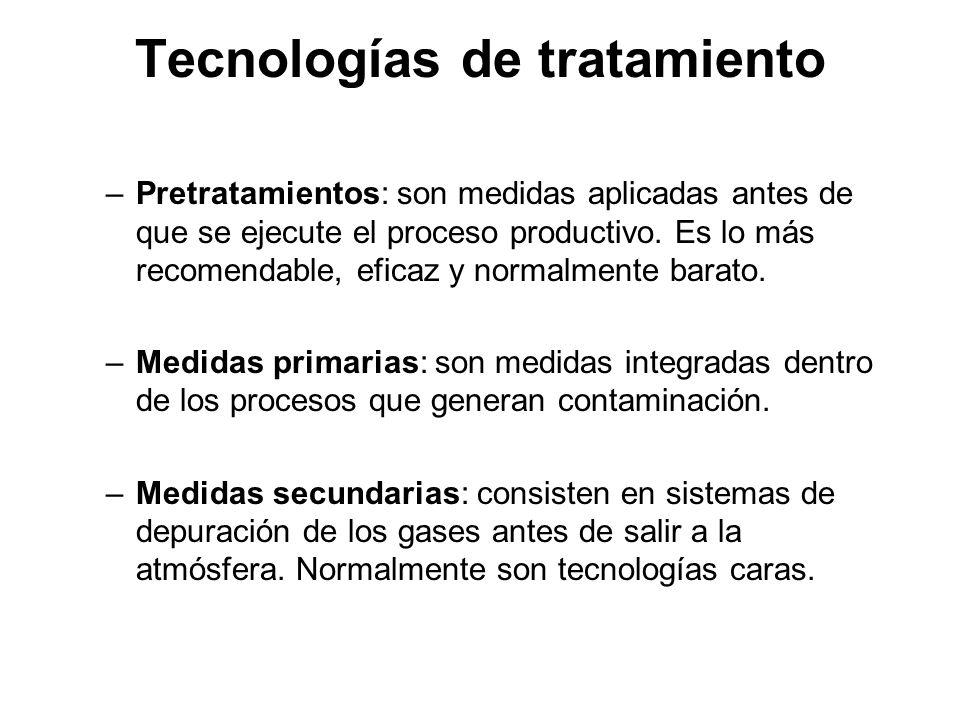 Tecnologías de tratamiento –Pretratamientos: son medidas aplicadas antes de que se ejecute el proceso productivo.
