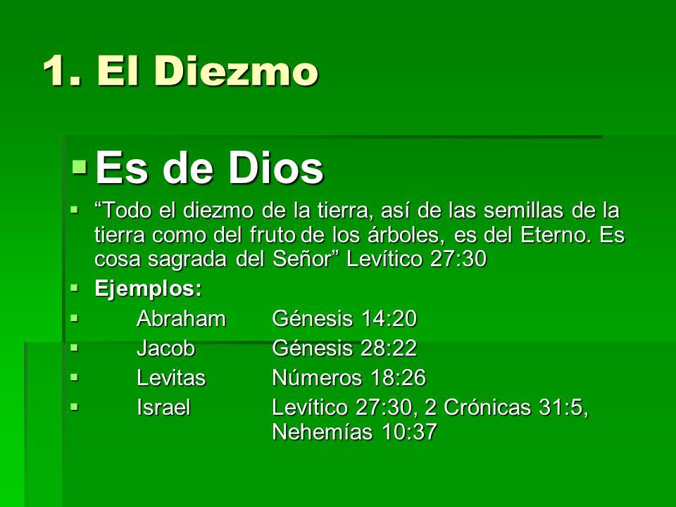1. El Diezmo Es de Dios Es de Dios Todo el diezmo de la tierra, así de las semillas de la tierra como del fruto de los árboles, es del Eterno. Es cosa