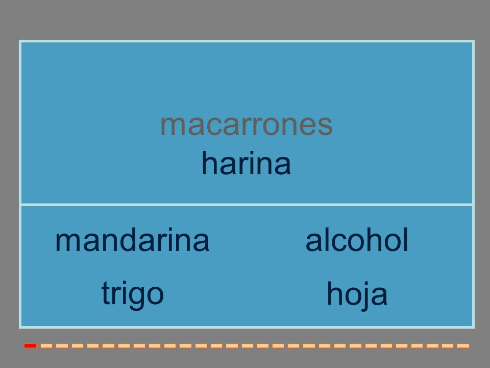 macarrones harina trigo mandarinaalcohol hoja