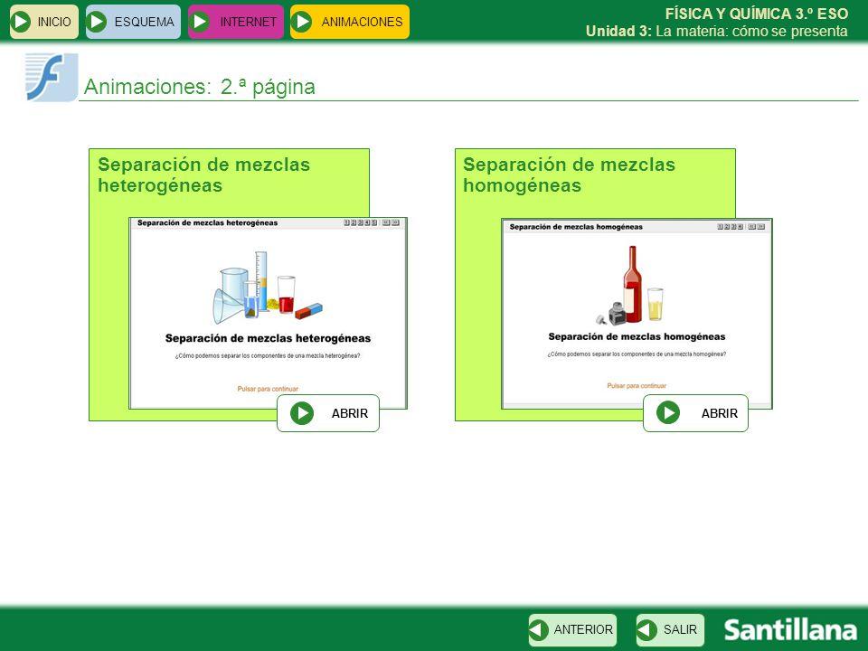 FÍSICA Y QUÍMICA 3.º ESO Unidad 3: La materia: cómo se presenta INICIO ESQUEMA INTERNET SALIRANTERIOR ANIMACIONES Animaciones: 2.ª página Separación de mezclas heterogéneas ABRIR Separación de mezclas homogéneas ABRIR