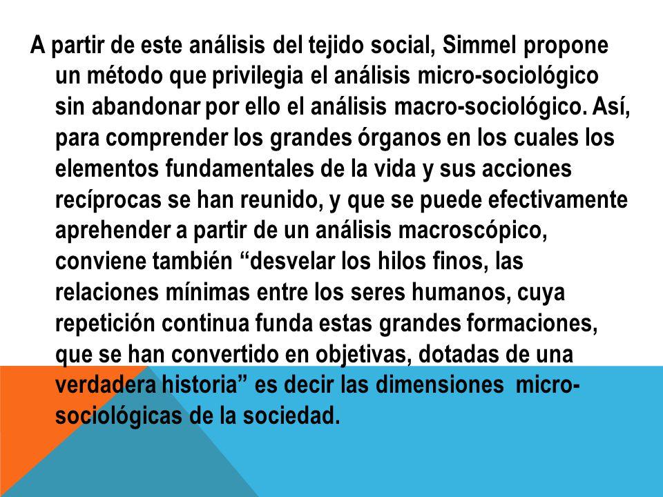 A partir de este análisis del tejido social, Simmel propone un método que privilegia el análisis micro-sociológico sin abandonar por ello el análisis