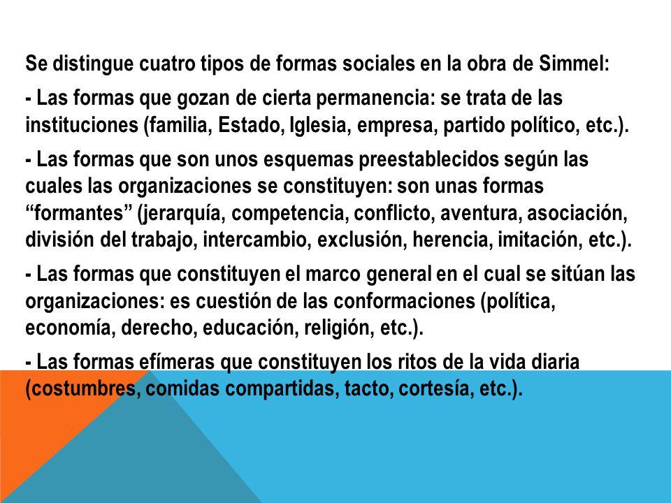 Se distingue cuatro tipos de formas sociales en la obra de Simmel: - Las formas que gozan de cierta permanencia: se trata de las instituciones (famili