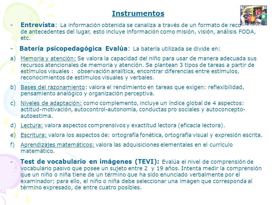 Instrumentos -Entrevista: La información obtenida se canaliza a través de un formato de recopilación de antecedentes del lugar, esto incluye informaci