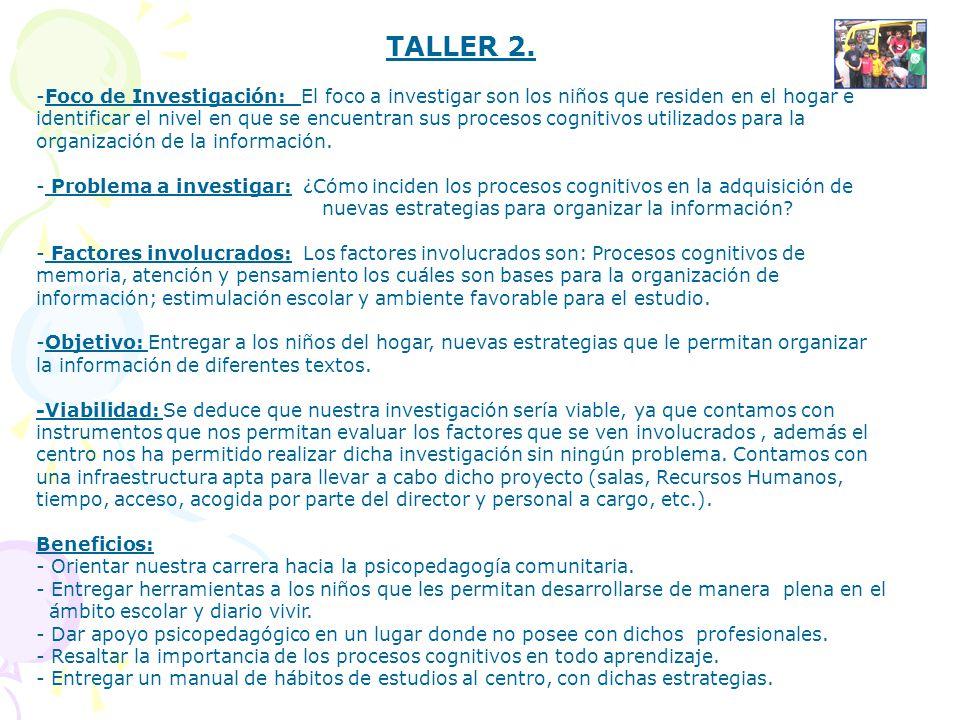 TALLER 2. -Foco de Investigación: El foco a investigar son los niños que residen en el hogar e identificar el nivel en que se encuentran sus procesos