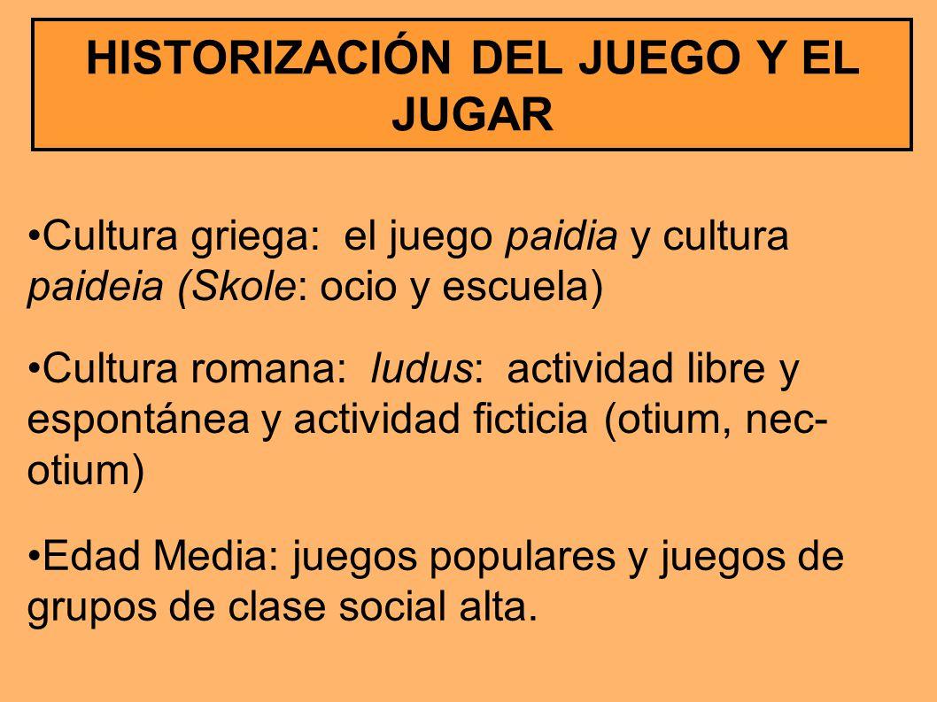 HISTORIZACIÓN DEL JUEGO Y EL JUGAR Cultura griega: el juego paidia y cultura paideia (Skole: ocio y escuela) Cultura romana: ludus: actividad libre y