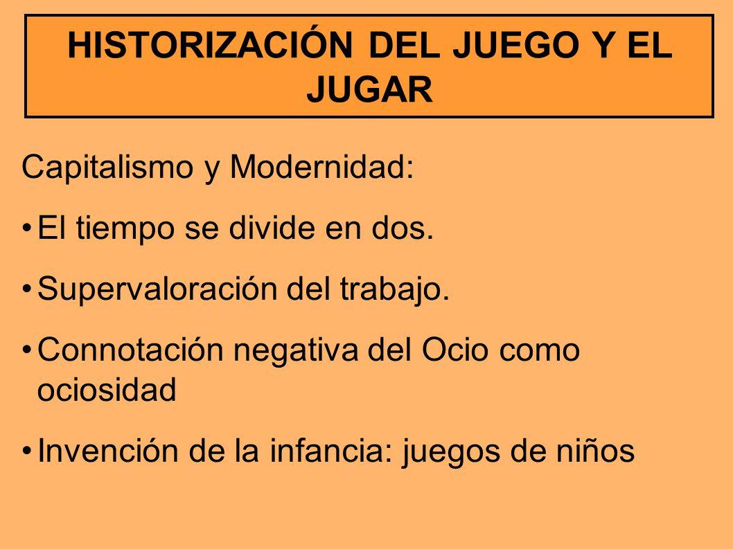 HISTORIZACIÓN DEL JUEGO Y EL JUGAR Capitalismo y Modernidad: El tiempo se divide en dos. Supervaloración del trabajo. Connotación negativa del Ocio co
