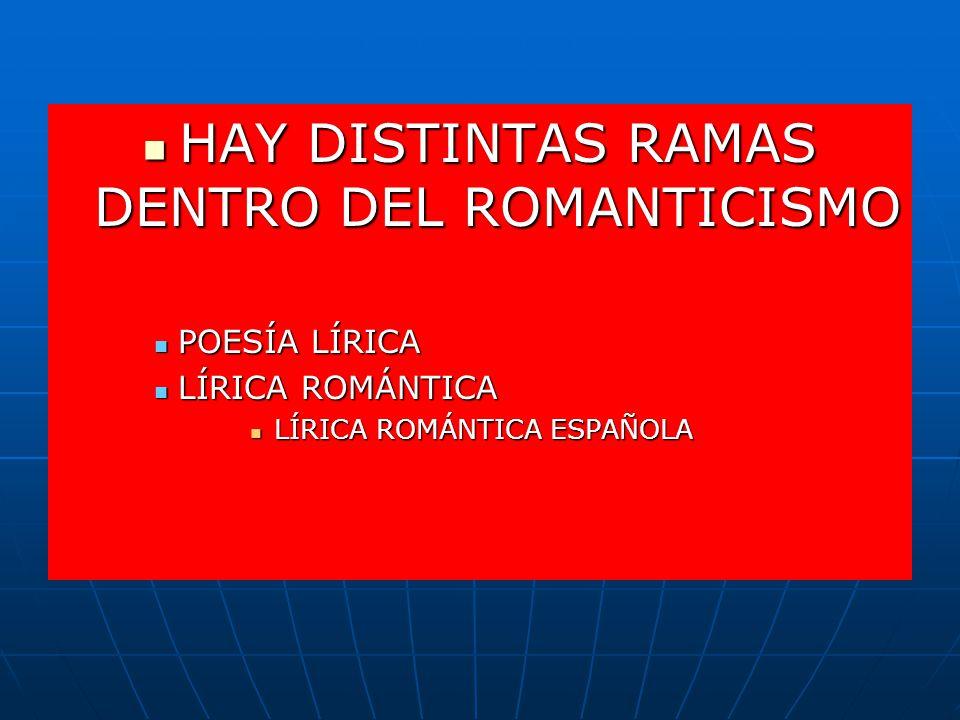 HAY DISTINTAS RAMAS DENTRO DEL ROMANTICISMO HAY DISTINTAS RAMAS DENTRO DEL ROMANTICISMO POESÍA LÍRICA POESÍA LÍRICA LÍRICA ROMÁNTICA LÍRICA ROMÁNTICA