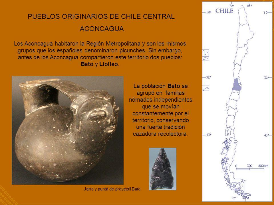 PUEBLOS ORIGINARIOS DE CHILE CENTRAL ACONCAGUA Los Aconcagua habitaron la Región Metropolitana y son los mismos grupos que los españoles denominaron p