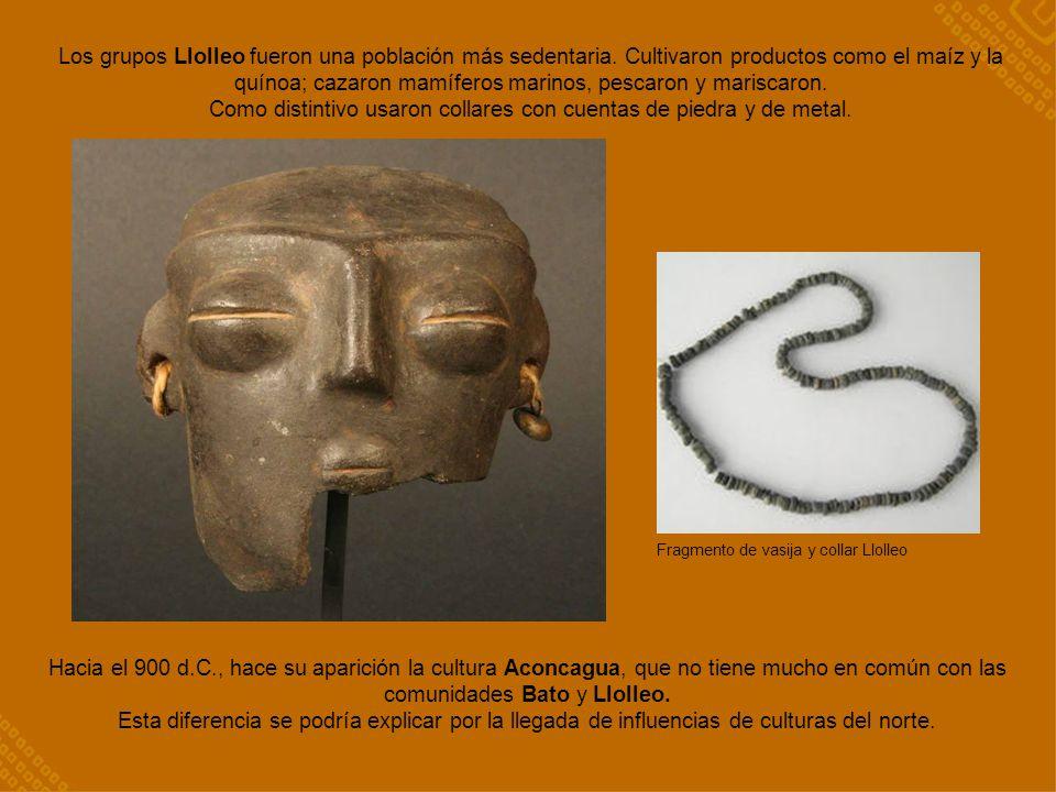 Fragmento de vasija y collar Llolleo Los grupos Llolleo fueron una población más sedentaria. Cultivaron productos como el maíz y la quínoa; cazaron ma