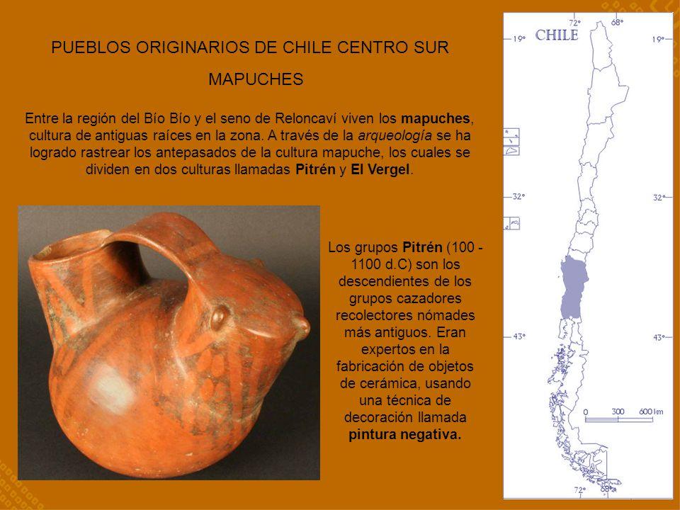 PUEBLOS ORIGINARIOS DE CHILE CENTRO SUR MAPUCHES Entre la región del Bío Bío y el seno de Reloncaví viven los mapuches, cultura de antiguas raíces en