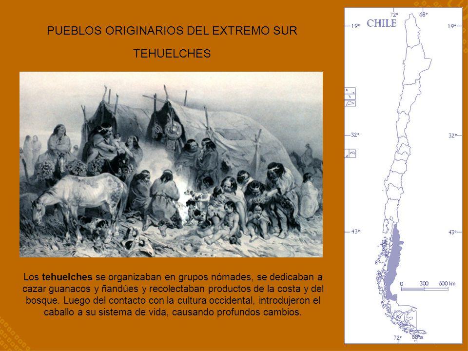 PUEBLOS ORIGINARIOS DEL EXTREMO SUR TEHUELCHES Los tehuelches se organizaban en grupos nómades, se dedicaban a cazar guanacos y ñandúes y recolectaban