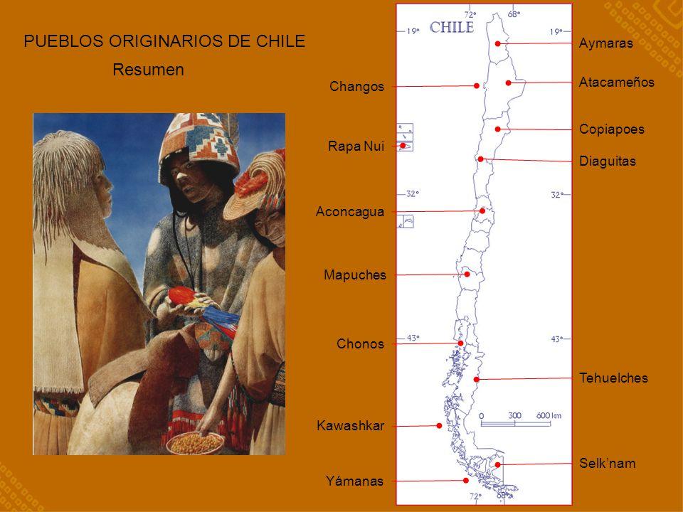 RESUMEN Aymaras Atacameños Changos Rapa Nui Copiapoes Tehuelches Aconcagua Mapuches Selknam Chonos Kawashkar Yámanas Diaguitas PUEBLOS ORIGINARIOS DE