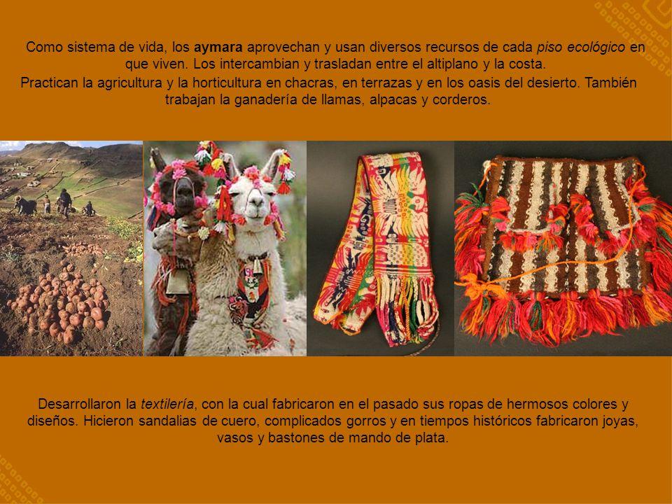 Como sistema de vida, los aymara aprovechan y usan diversos recursos de cada piso ecológico en que viven. Los intercambian y trasladan entre el altipl