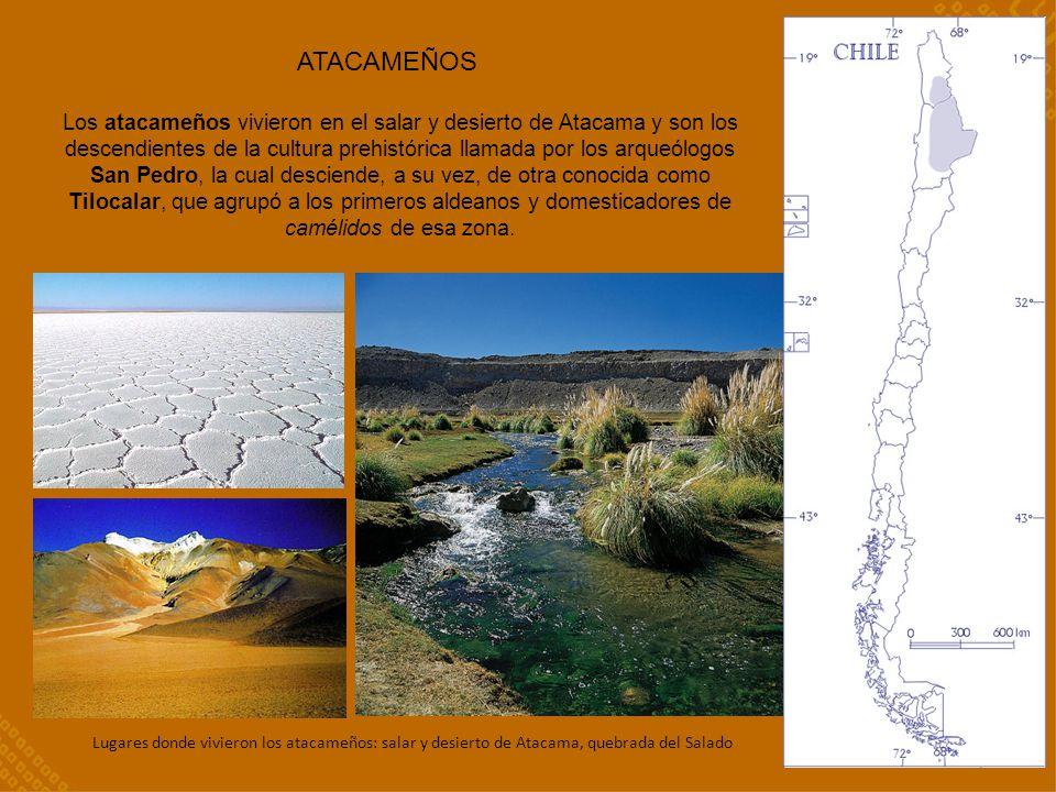 ATACAMEÑOS Los atacameños vivieron en el salar y desierto de Atacama y son los descendientes de la cultura prehistórica llamada por los arqueólogos Sa