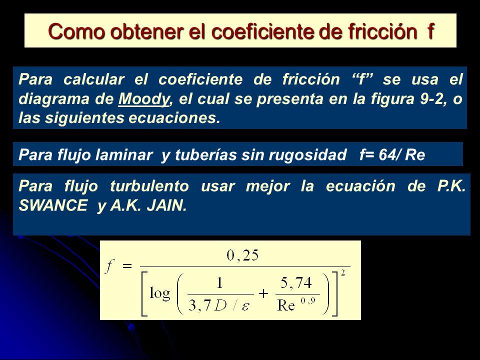 Como obtener el coeficiente de fricción f Para calcular el coeficiente de fricción f se usa el diagrama de Moody, el cual se presenta en la figura 9-2