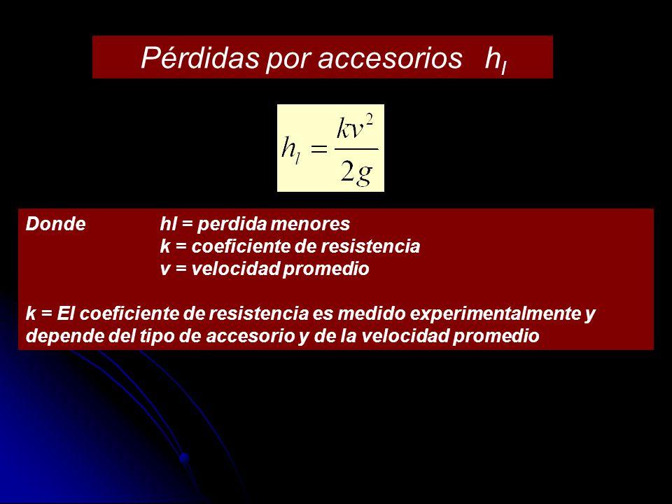 Pérdidas por accesorios h l Donde hl = perdida menores k = coeficiente de resistencia v = velocidad promedio k = El coeficiente de resistencia es medi