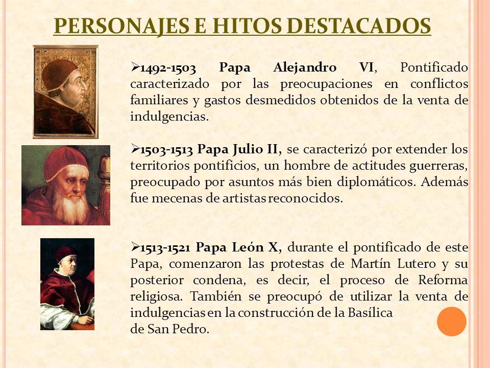 PERSONAJES E HITOS DESTACADOS 1492-1503 Papa Alejandro VI, Pontificado caracterizado por las preocupaciones en conflictos familiares y gastos desmedid