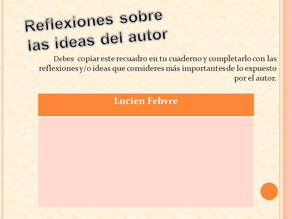 Deb es copiar este recuadro en tu cuaderno y completarlo con las reflexiones y/o ideas que consideres más importantes de lo expuesto por el autor. Luc