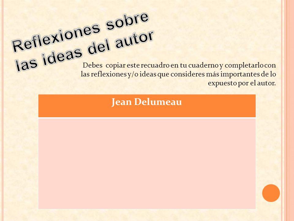 Debes copiar este recuadro en tu cuaderno y completarlo con las reflexiones y/o ideas que consideres más importantes de lo expuesto por el autor. Jean