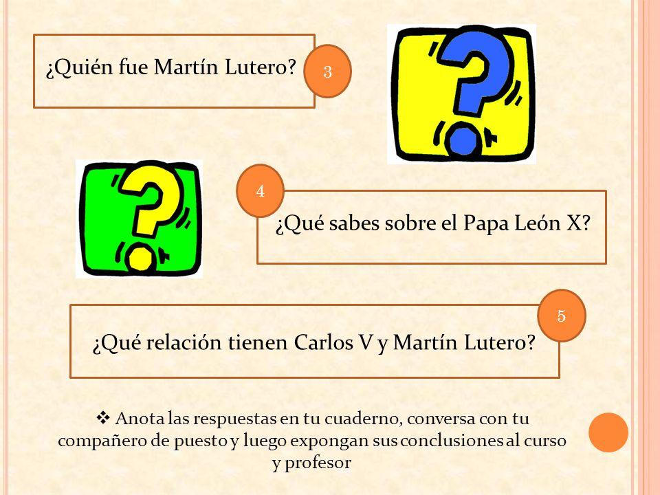 ¿Quién fue Martín Lutero? ¿Qué relación tienen Carlos V y Martín Lutero? ¿Qué sabes sobre el Papa León X? Anota las respuestas en tu cuaderno, convers