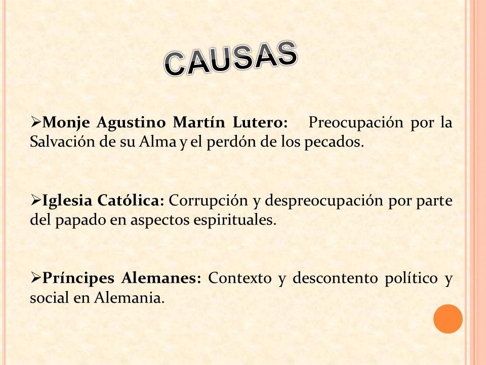 Monje Agustino Martín Lutero: Preocupación por la Salvación de su Alma y el perdón de los pecados. Iglesia Católica: Corrupción y despreocupación por