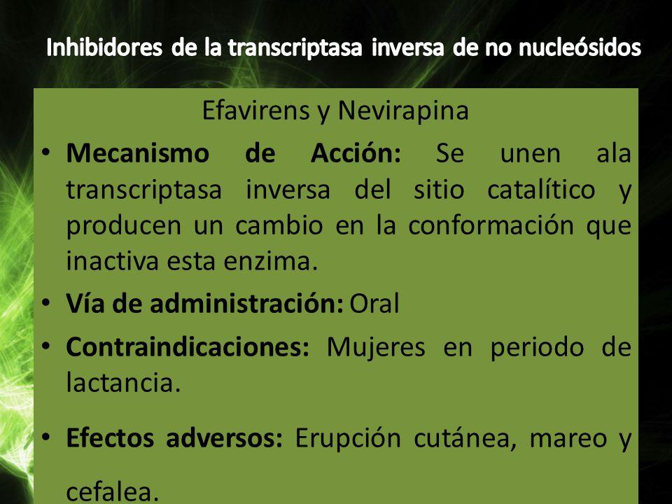 Efavirens y Nevirapina Mecanismo de Acción: Se unen ala transcriptasa inversa del sitio catalítico y producen un cambio en la conformación que inactiv