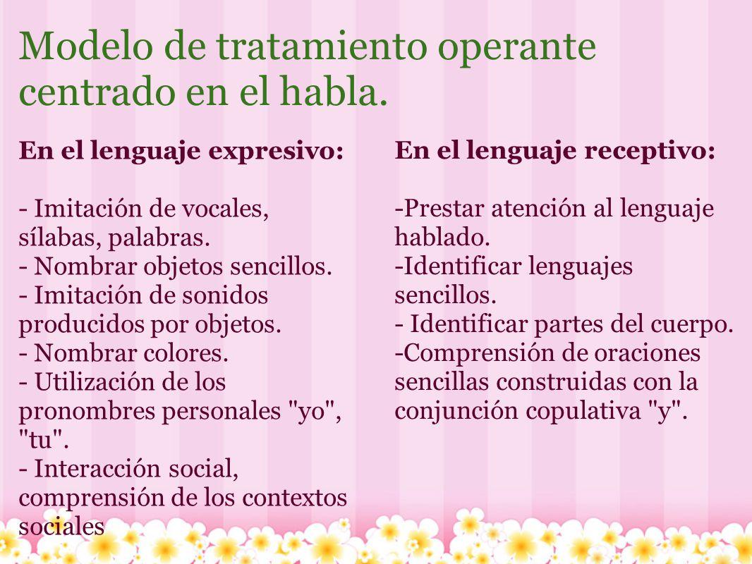 Modelo de tratamiento operante centrado en el habla. En el lenguaje expresivo: - Imitación de vocales, sílabas, palabras. - Nombrar objetos sencillos.