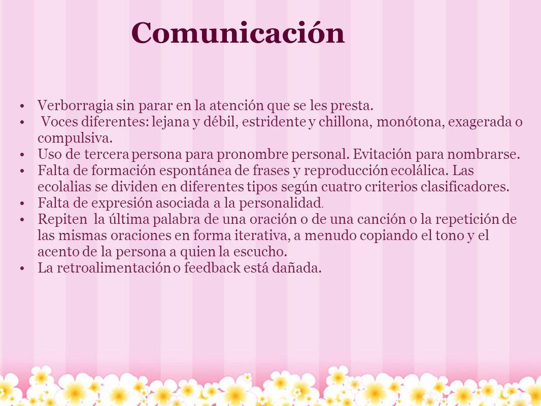 Comunicación Verborragia sin parar en la atención que se les presta. Voces diferentes: lejana y débil, estridente y chillona, monótona, exagerada o co