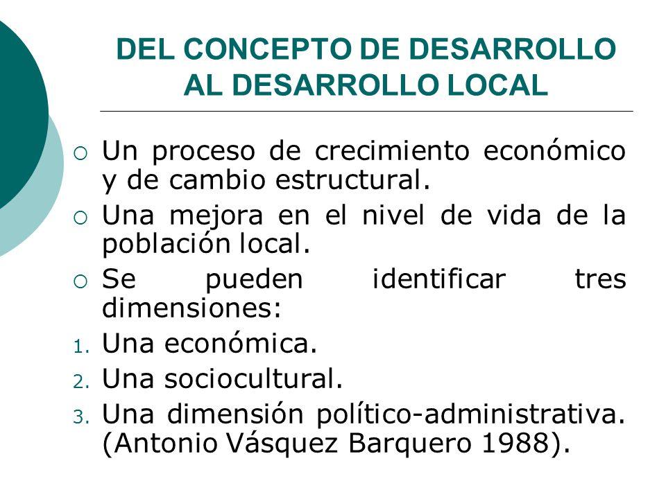 DEL CONCEPTO DE DESARROLLO AL DESARROLLO LOCAL Un proceso de crecimiento económico y de cambio estructural. Una mejora en el nivel de vida de la pobla
