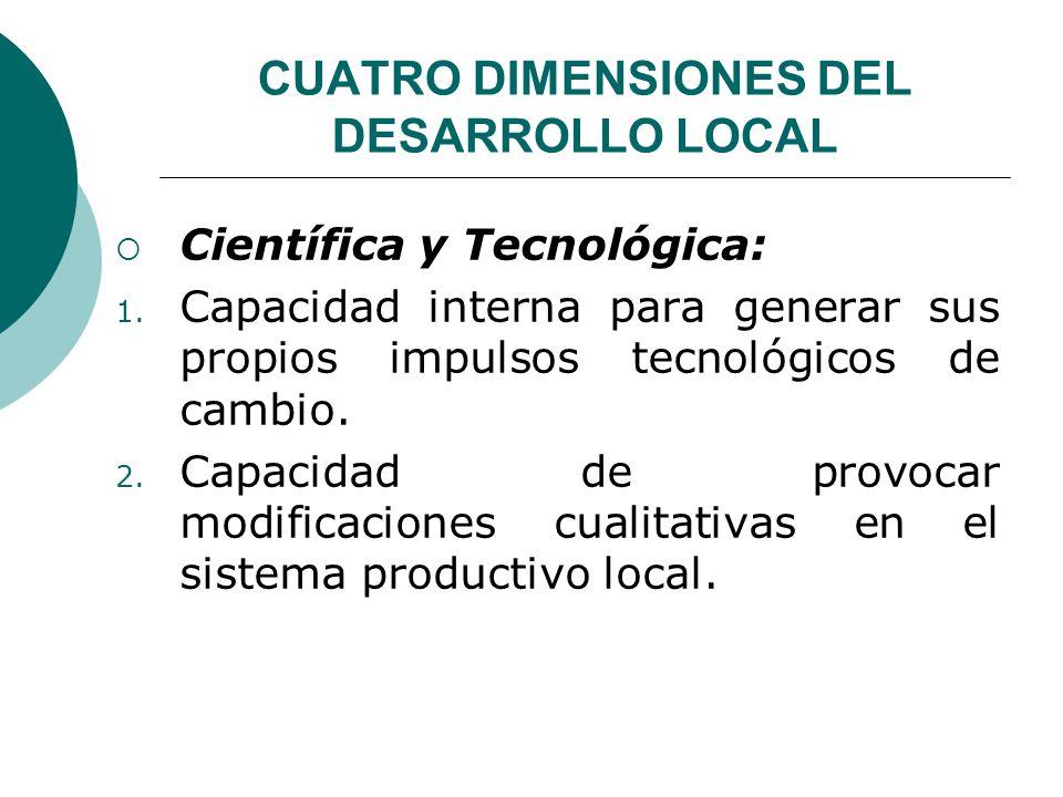 CUATRO DIMENSIONES DEL DESARROLLO LOCAL Científica y Tecnológica: 1. Capacidad interna para generar sus propios impulsos tecnológicos de cambio. 2. Ca